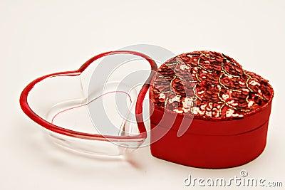 De containers van de hartvorm