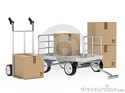 De vrachtwagenpakketten van het karretje en van de hand