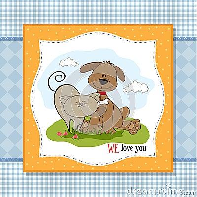 De vriendschap van de hond & van de kat