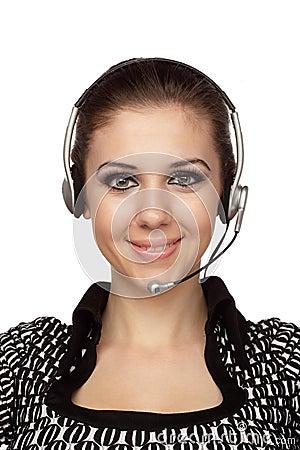 De vrolijke exploitant van de klantendienst