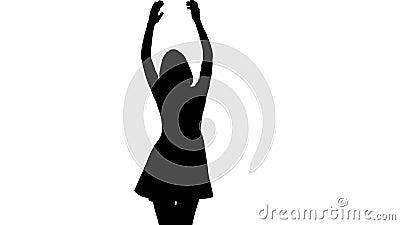De vrouw bij het overleg danst en overhandigt op klappen Witte achtergrond Silhouet stock footage