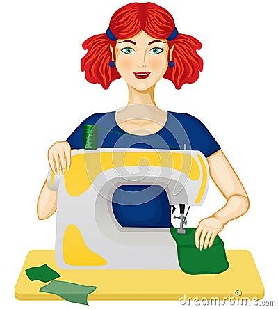 De vrouw naait