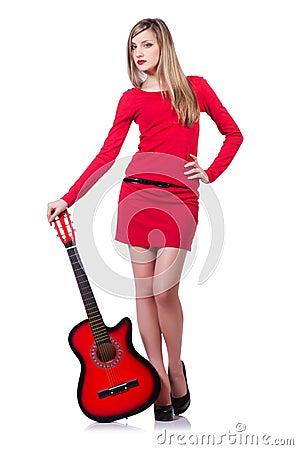 De vrouw van de gitaarspeler