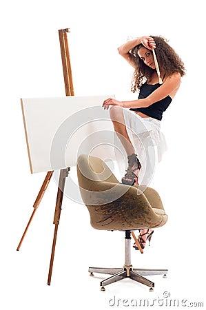 De vrouw van de schilder
