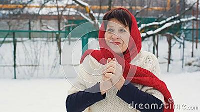 De vrouw verwarmt Handen bij de winter stock video
