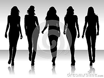 De vrouwen silhouetteren