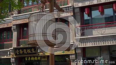 De Wandelgalerij van Quinmen Main Street Het lopen van straat in een centrum van het kapitaal van China Reis naar het concept van stock videobeelden