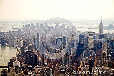 De wazige horizon van de Stad van New York