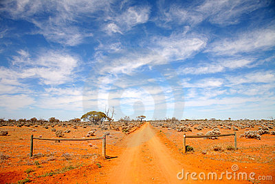 De weg Australië van het binnenland