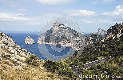De weg van de kust in Majorca