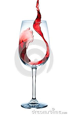 De wijn giet in drinkbeker