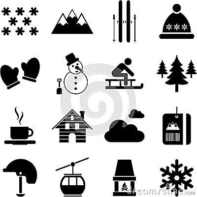 De winter/alpiene/skipictogrammen