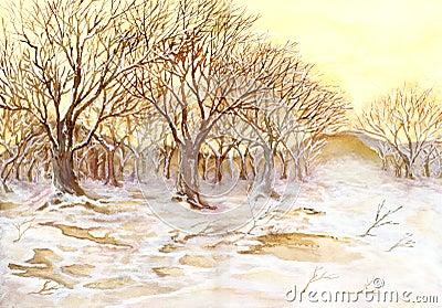 De winter geschilderd hout
