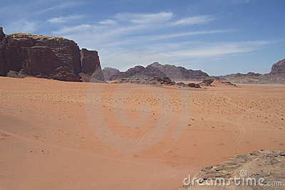 De woestijn van Jordanië
