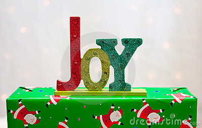De woordVREUGDE op aanwezige Kerstmis