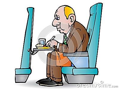 De zakenman eet in vliegtuig