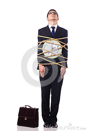De zakenman klopte met kabel