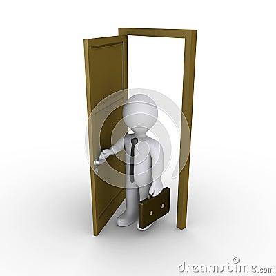 De zakenman opent een deur