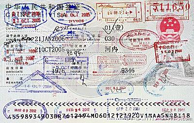 De zegels van het paspoort