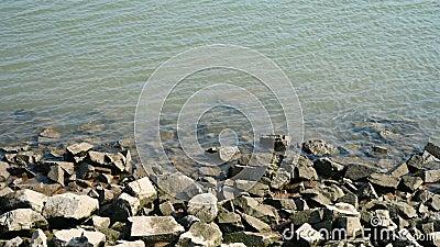 De zijkant van de rivier met golf en rotsen stock footage