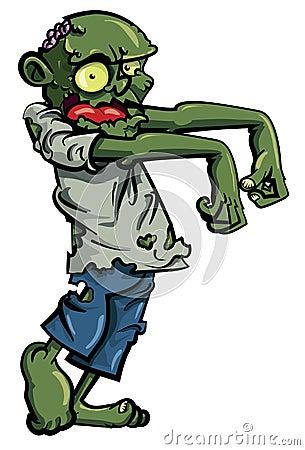 De zombie van het beeldverhaal die op wit wordt geïsoleerdl