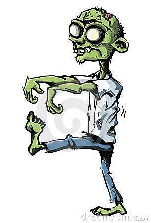 De zombie van het beeldverhaal die op wit wordt geïsoleerdu