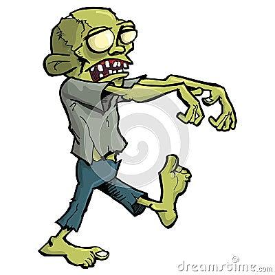De zombie van het beeldverhaal die op wit wordt geïsoleerds