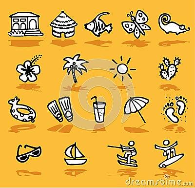 De zomer, vakantie, geplaatste zonpictogrammen