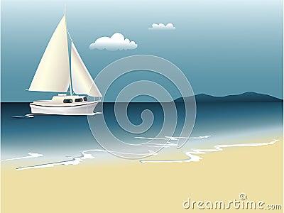 De zomerachtergrond met overzees en boot