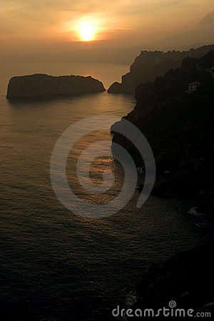 De zonsondergang van Javea