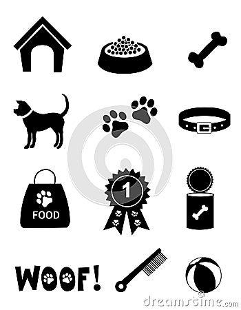 De zorgpictogrammen van de hond