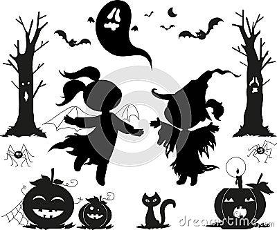 De zwarte pictogrammen van Halloween voor jonge geitjes