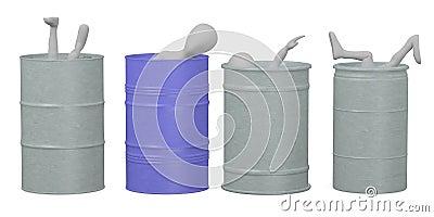 Dead bodies in barrels
