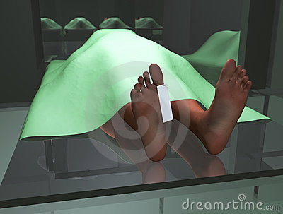 Dead body in morgue
