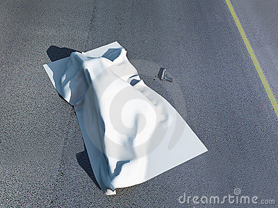 Dead body under a homicide cloth