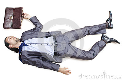 Dead businessman on   floor