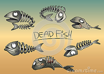 Dead fish leftovers illustration