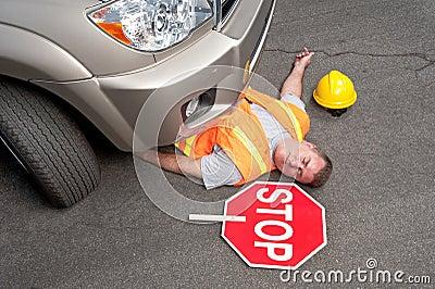 Dead road worker