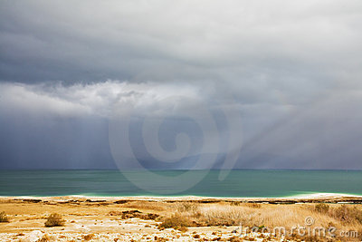 The Dead Sea during a spring thunder-storm