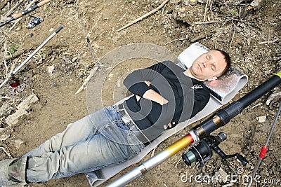Dead tired angler