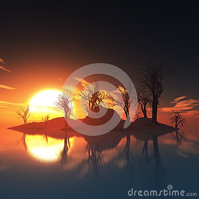 Dead trees island and sunset