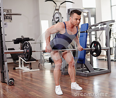 Deadlifts with a barbell