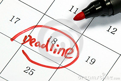 Deadline sign written with pen on paper