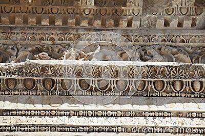 Deail do templo de Hadrian, Ephesus
