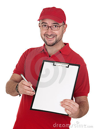 Dealer with blank clipboard and red uniform