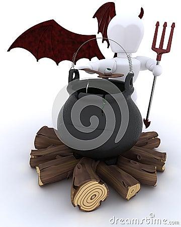 Deamon with cauldron of eyeballs on log fire