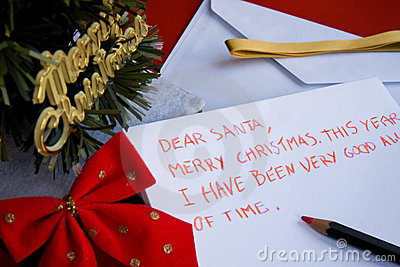Dear santa letter written by a child for Christmas