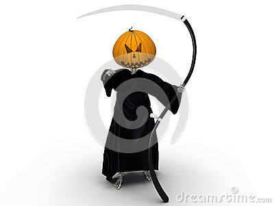 Death of a pumpkin head and a black silk