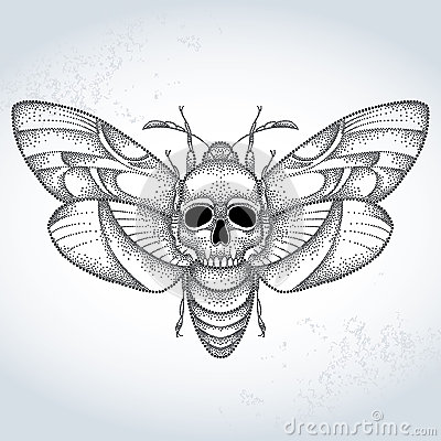 Free Death S Head Hawk Moth Or Acherontia Atropos In Dotted Style On The Textured Background Stock Images - 62684414