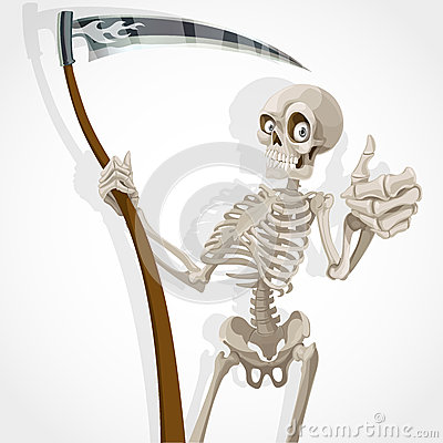 Death-skeleton with a scythe shows that everything